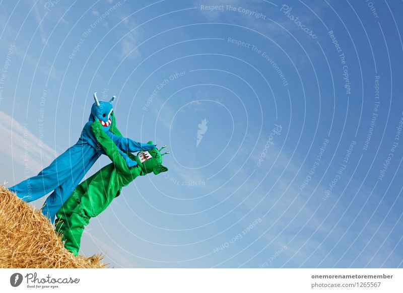 Man, hör doch mal... blau grün Freude Kunst ästhetisch Konflikt & Streit kämpfen Kunstwerk Blauer Himmel Karnevalskostüm Monster spaßig Spaßvogel Außerirdischer