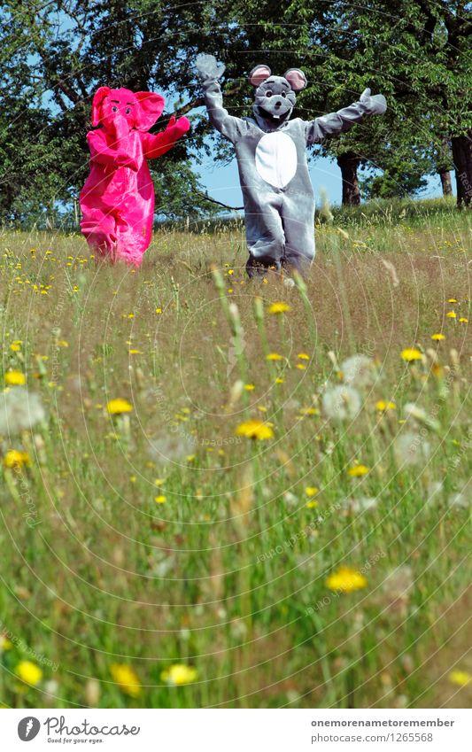 Hihihihihihihihi Freude lustig Spielen grau Kunst rosa ästhetisch laufen Jagd fangen Flucht Kunstwerk Maus Elefant spaßig Unsinn