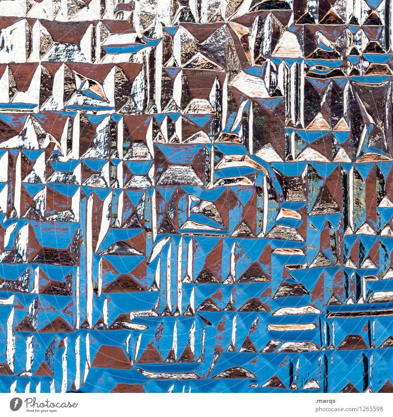 Glasig Fenster einzigartig blau braun schwarz weiß Design Farbe Farbfoto Innenaufnahme Detailaufnahme abstrakt Muster Strukturen & Formen Menschenleer