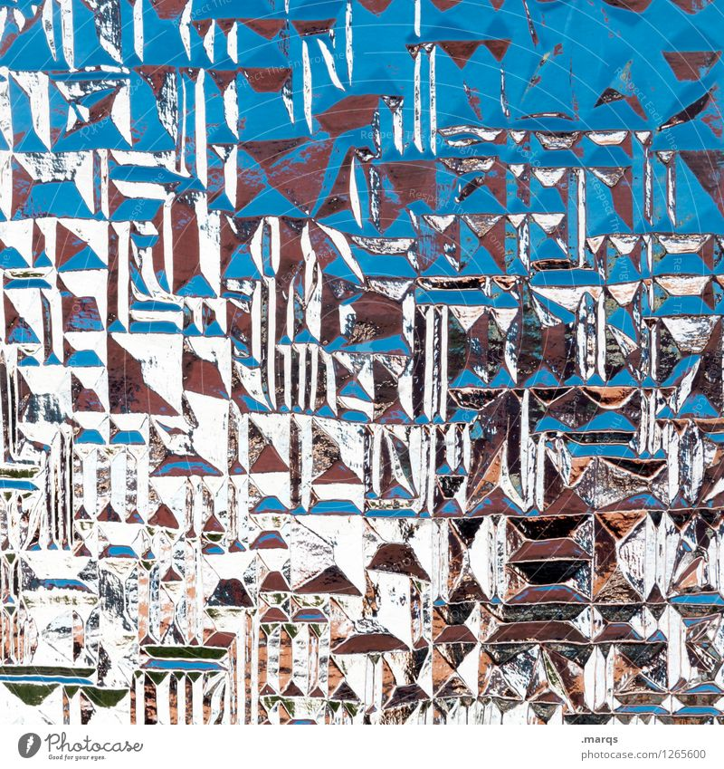 Strukturiert Stil Design Glas außergewöhnlich Coolness trendy einzigartig verrückt blau weiß chaotisch Farbe Surrealismus Hintergrundbild eckig Farbfoto