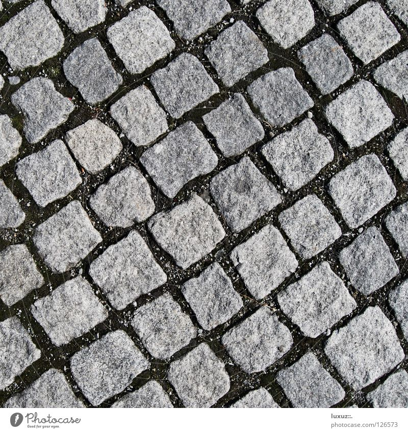 Stein um Stein Straße grau Stein Verkehr Platz Bodenbelag Quadrat Handwerk Reihe Kopfsteinpflaster diagonal Parkplatz Anordnung hart Pflastersteine Marktplatz