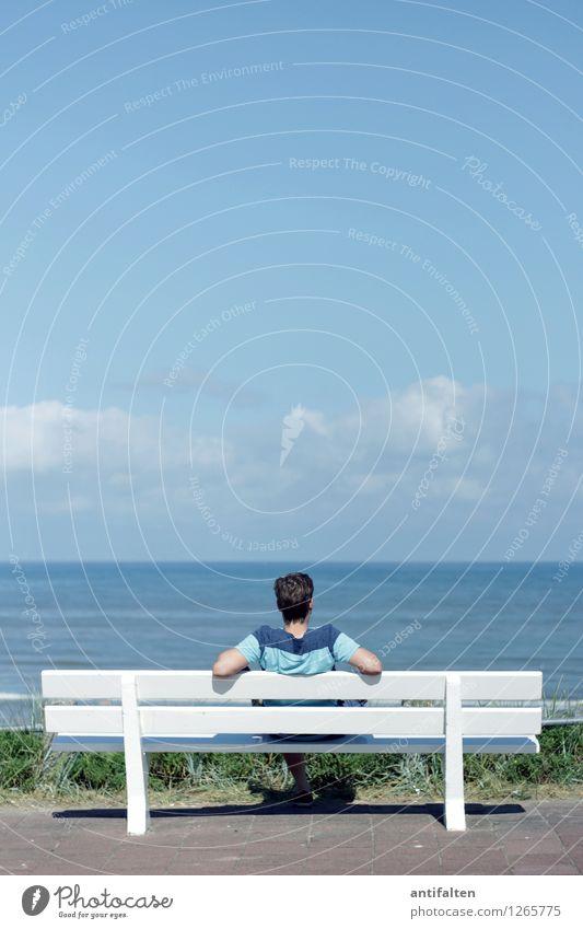 450   Aussicht auf mehr Mensch Himmel Ferien & Urlaub & Reisen Mann Sommer Wasser Sonne Erholung Meer Wolken Strand Erwachsene Haare & Frisuren Freiheit Kopf Horizont