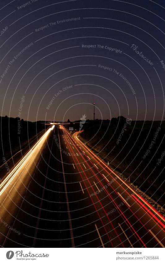 A9 bindlacher berg Straße leuchten PKW Verkehr Geschwindigkeit Güterverkehr & Logistik fahren Verkehrswege Fahrzeug Autobahn Personenverkehr Lastwagen