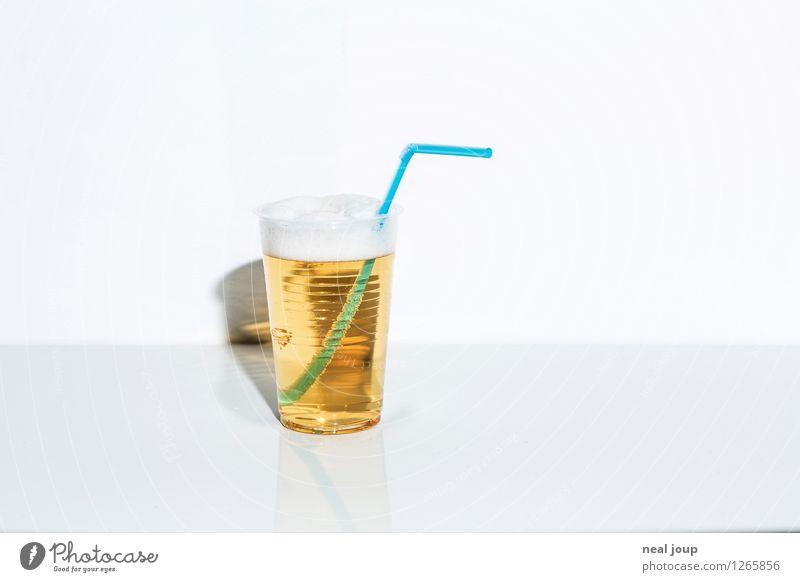 """Longdrink Sommer Bar Cocktailbar trinken Gastronomie """"Becher Strohhalm Trinkhalm,"""" Kunststoff Luxus blond einfach Flüssigkeit frisch Billig gelb weiß"""