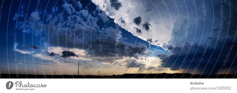 Nach dem Sturm Landschaft Urelemente Luft Himmel Wolken Gewitterwolken Horizont Sommer Wetter Unwetter Feld Unendlichkeit blau gold grau Harthausen HDR