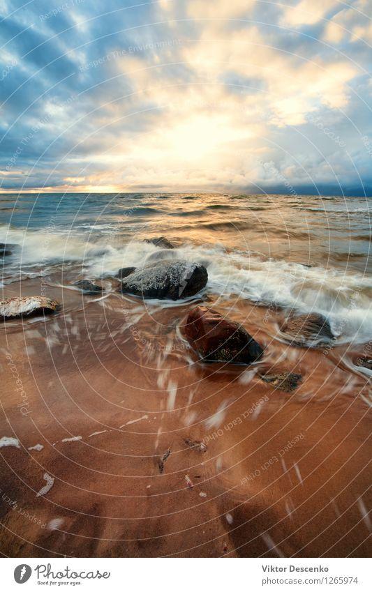 Steine ??und Schneesturm mit Wellen in der Ostsee schön Ferien & Urlaub & Reisen Strand Meer Insel Winter Umwelt Natur Landschaft Himmel Wolken Klima Wetter