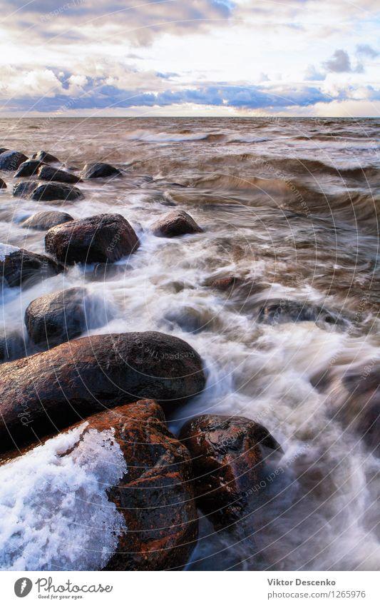 Steine ??und Schneesturm mit Wellen Himmel Natur Ferien & Urlaub & Reisen blau schön Meer Landschaft Wolken Strand Winter Umwelt natürlich Küste Felsen