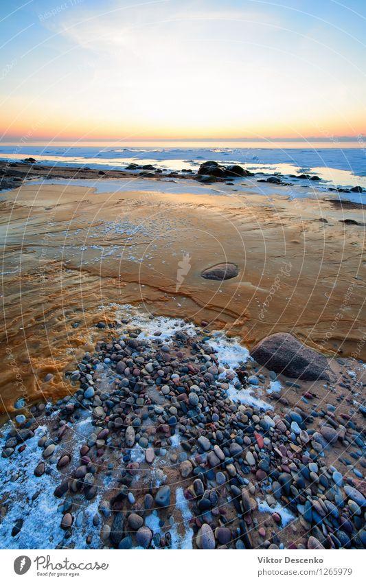 Eis und Stein am gefrorenen Ostseestrand schön Ferien & Urlaub & Reisen Tourismus Sonne Strand Meer Winter Schnee Natur Landschaft Sand Himmel Horizont Küste