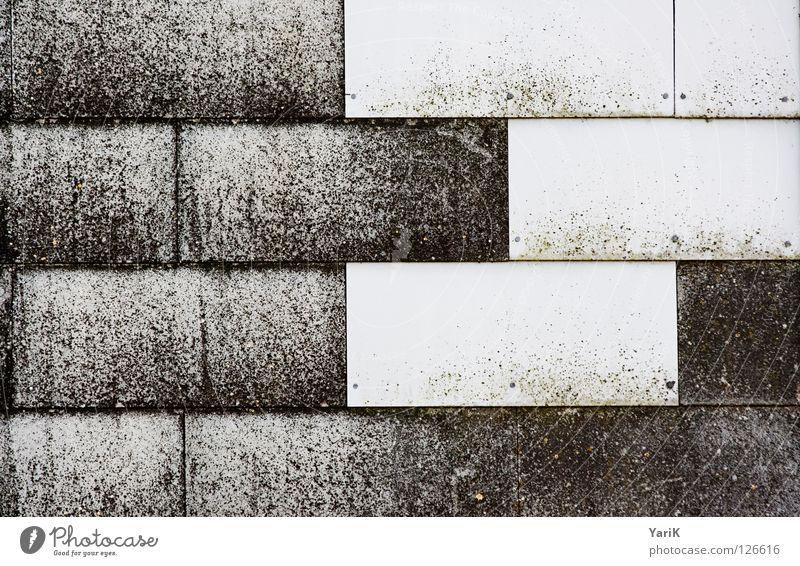 tetris alt weiß schwarz dunkel Wand Stein Mauer Gebäude hell Wetter Baustelle verfallen bleich bauen Rechteck Abdeckung