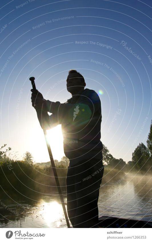 Spreedorado | Lichtschwert Mensch maskulin Junger Mann Jugendliche Erwachsene 1 Umwelt Natur Landschaft Schönes Wetter Wiese Feld Wald Flussufer blau schwarz