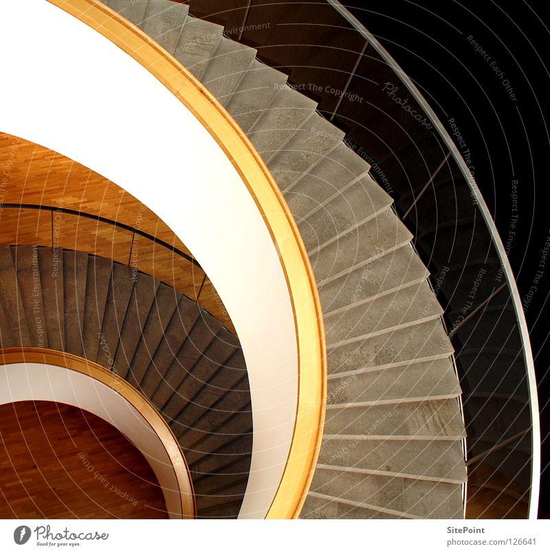 Treppe Treppengeländer Innenarchitektur rund weiß braun beige grau Architektur Aufsiteg Abstieg Schnecke
