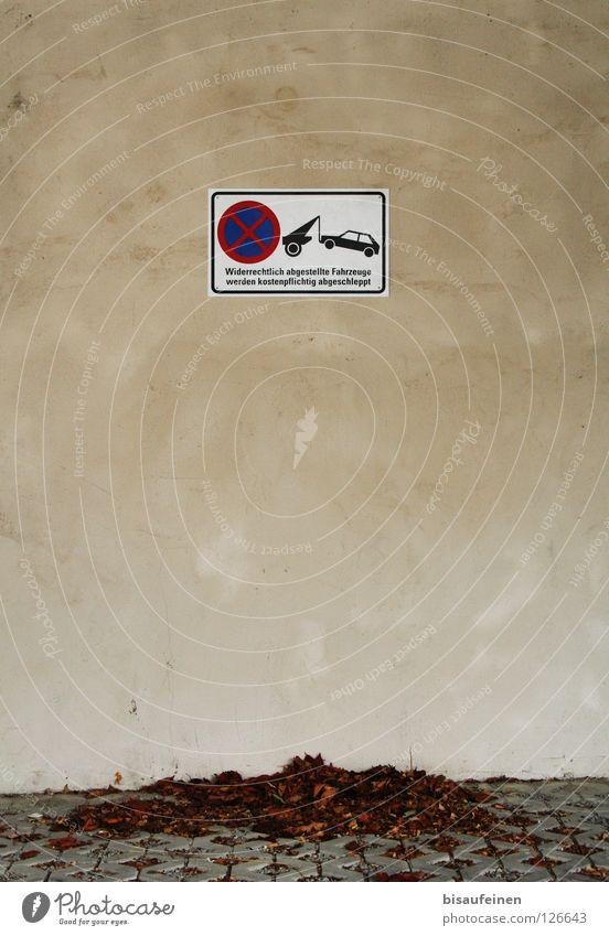 Abgeschleppt Blatt Wand Herbst PKW Schilder & Markierungen Fassade Hinweisschild Warnhinweis parken Parkplatz Verbote Herbstlaub Pflastersteine Verkehrsschild