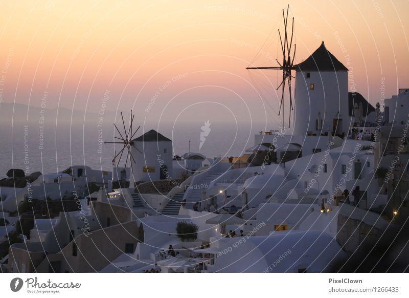 Santorin Ferien & Urlaub & Reisen schön Erholung Meer Landschaft ruhig Haus Strand Lifestyle Stimmung Horizont orange träumen Zufriedenheit Tourismus ästhetisch