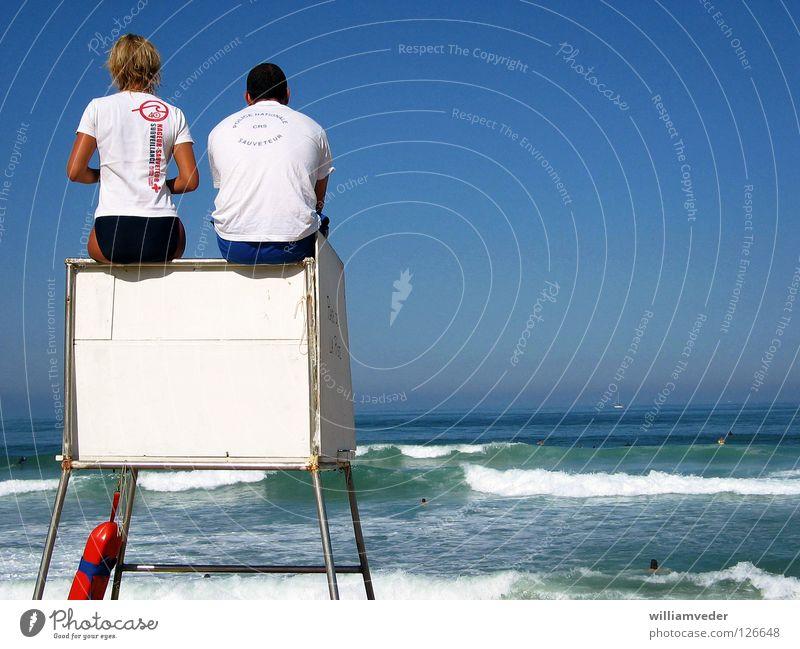 Bademeister Meer Sommer Strand Ferien & Urlaub & Reisen Frankreich Atlantik Bademeister