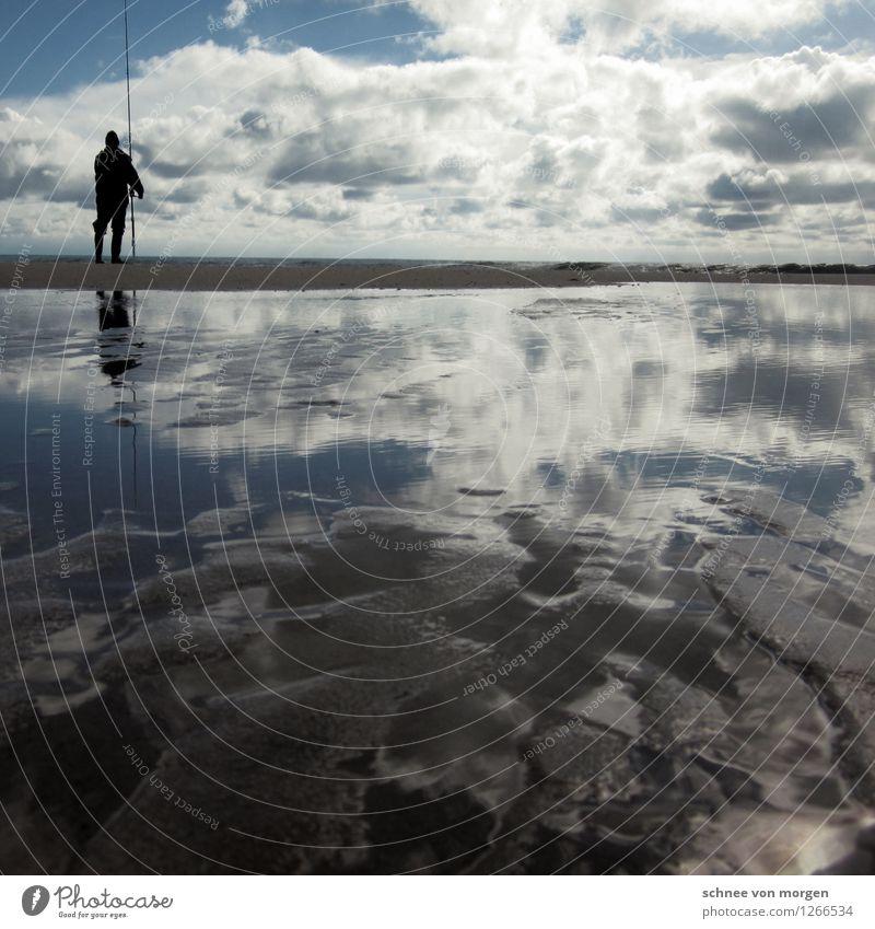 unendliche Blicke Mensch maskulin Körper 1 Umwelt Natur Landschaft Urelemente Sand Wasser Himmel Gewitterwolken Horizont Sonne Herbst Klima Wetter Wind Sturm