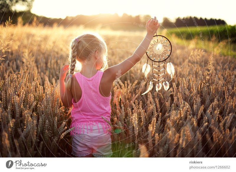 Traumfänger Mensch feminin Kind Mädchen Kindheit 1 3-8 Jahre Umwelt Natur Sonne Sonnenaufgang Sonnenuntergang Sonnenlicht Sommer Schönes Wetter Wärme Feld