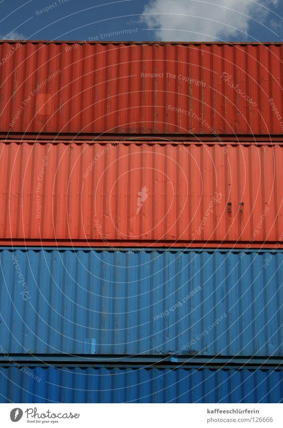 Verfrachtung Himmel blau rot Wolken Wasserfahrzeug Hafen Container Ware Containerterminal
