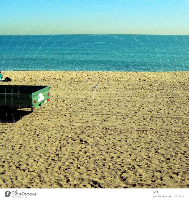 ARBEITSPLATZ Himmel Meer grün Sommer Strand Ferne Arbeit & Erwerbstätigkeit PKW Sand Vogel Horizont Erde Pause Aussicht Spuren Dienstleistungsgewerbe
