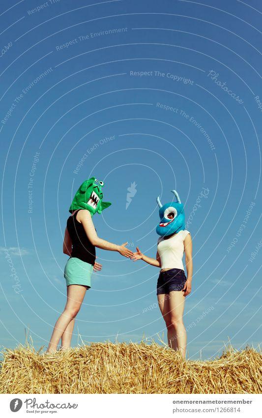 Annäherung Kunst Kunstwerk ästhetisch Verhandlung Handel Monster Ungeheuer ungeheuerlich Außerirdischer außerirdisch Stroh Hände schütteln Farbfoto mehrfarbig
