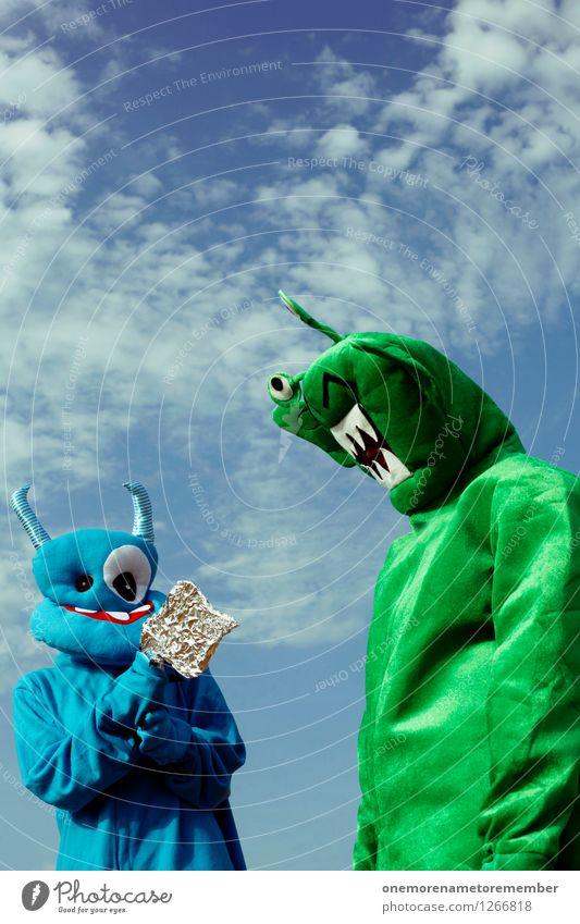I got you Kunst Kunstwerk ästhetisch Außerirdischer Monster außerirdisch Ungeheuer ungeheuerlich grün blau Gegner kämpfen besiegelt Kostüm Karnevalskostüm