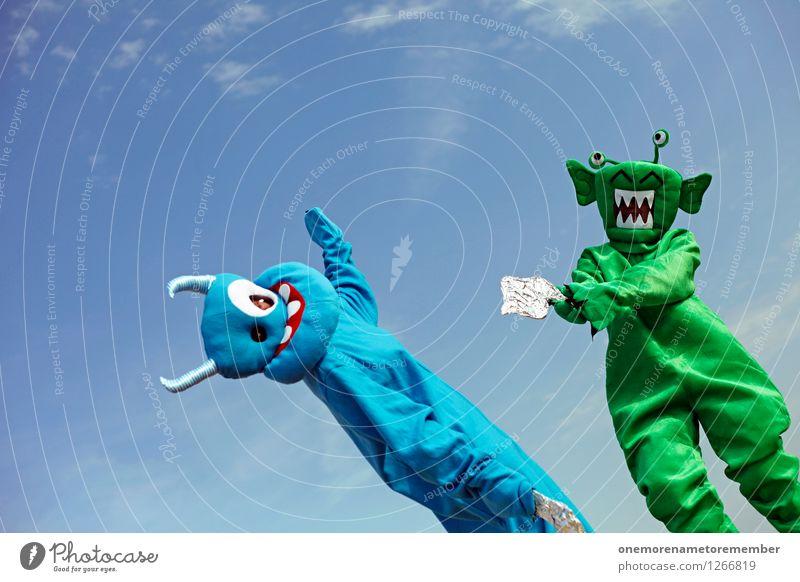 Clash of Species blau grün Freude Kunst ästhetisch Konflikt & Streit Kunstwerk Kostüm Karnevalskostüm Monster verlieren Kampfsport spaßig Pistole Spaßvogel