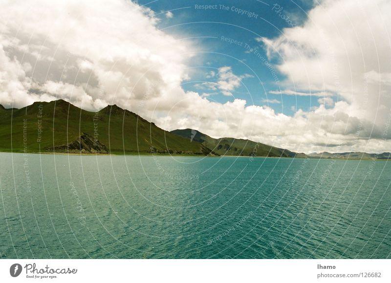 Blaue Oase 1999 Hochebene Asien Bergkette Tibet entdecken wandern faszinierend Wasser Niveau blau Kontrast lange Reise Passhöhe Ferien & Urlaub & Reisen