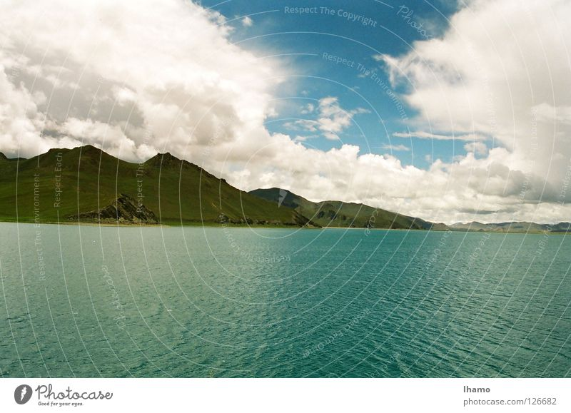 Blaue Oase Wasser blau Ferien & Urlaub & Reisen wandern Niveau Asien entdecken Bergkette faszinierend Tibet Hochebene 1999