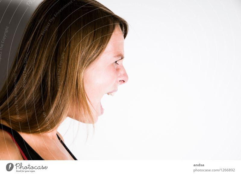 Der Schrei Mensch feminin Junge Frau Jugendliche 1 18-30 Jahre Erwachsene Top Haare & Frisuren brünett langhaarig Kommunizieren schreien Konflikt & Streit