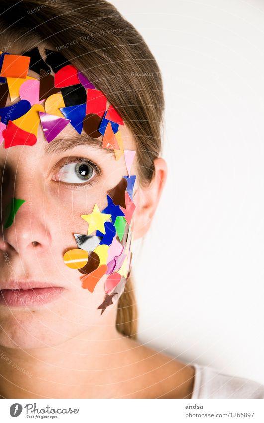 Gepunktet V Mensch feminin Junge Frau Jugendliche 1 18-30 Jahre Erwachsene T-Shirt Haare & Frisuren brünett langhaarig Zopf Denken Blick träumen Traurigkeit