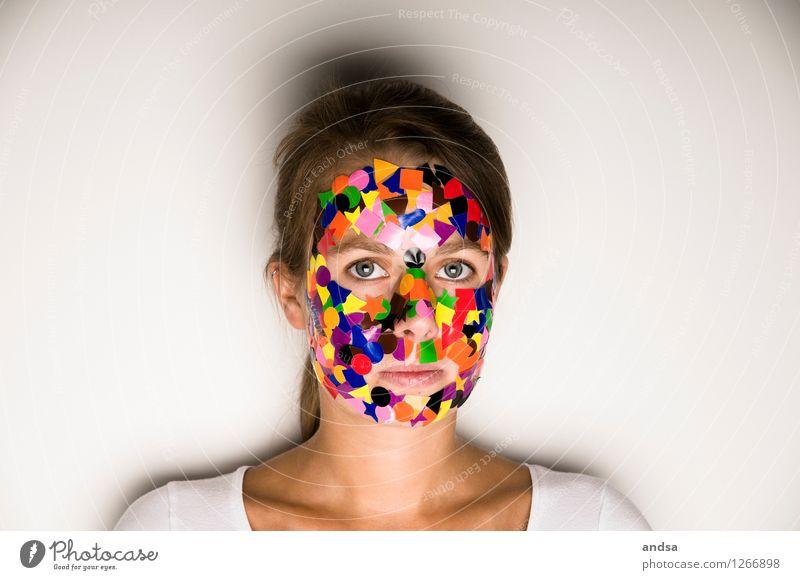 gepunktet II Mensch feminin Junge Frau Jugendliche 1 18-30 Jahre Erwachsene T-Shirt Haare & Frisuren brünett langhaarig Zopf beobachten Denken glänzend Blick