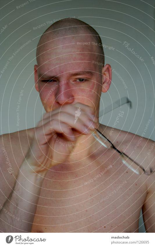 KLARSICHT Mensch Jugendliche Mann nackt Hand Einsamkeit ruhig Gesicht kalt Auge Leben Traurigkeit Gefühle Bewegung Stil Lifestyle