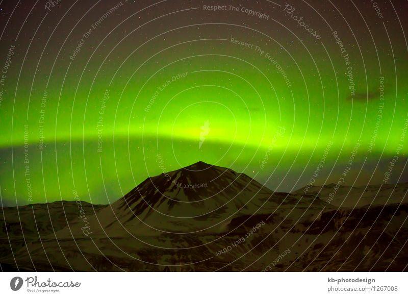 Green Northern lights in Iceland grün Winter Umwelt außergewöhnlich fantastisch Klima Island Vulkan Naturphänomene Nordlicht Aurora