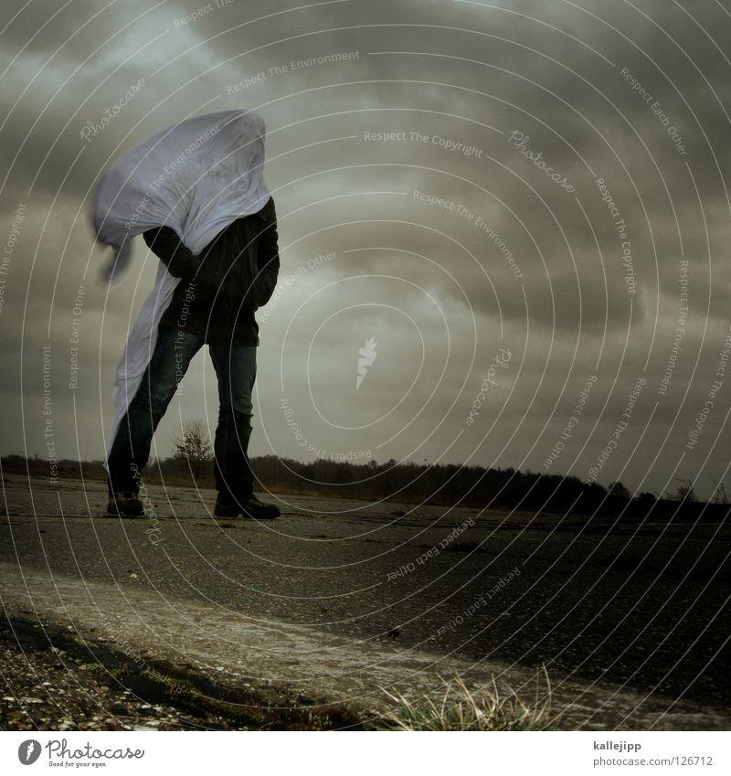 blinded by the light Mensch Mann weiß Wolken Einsamkeit Landschaft Luft Regen Wetter Wind Klima Schilder & Markierungen Energiewirtschaft nass Beton Beginn