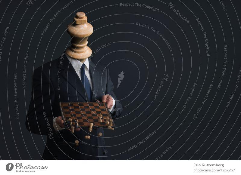 Symbol; Geschäftsmann der Mitarbeiter entlässt Mensch blau Hand dunkel schwarz Erwachsene gelb Bewegung Tod Spielen Business Arbeit & Erwerbstätigkeit maskulin