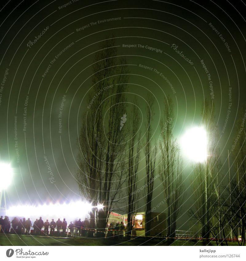 überbelichteter sportplatz Stadion Veranstaltung Flutlicht Licht Nacht Baum Pappeln Publikum Weltmeisterschaft Schweiz Österreich Spielen Fan Hooligan Eingang