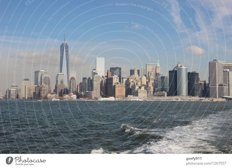 NEW YORK 6 New York City Stadt Haus Gebäude Sehenswürdigkeit One World Trade Center blau grau Farbfoto Außenaufnahme Tag Panorama (Aussicht)