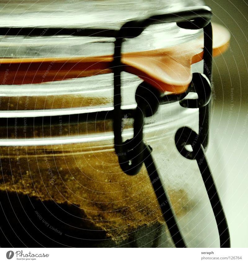 Kaffeeglas Glas geschlossen genießen Duft Tradition Behälter u. Gefäße Gummi rustikal aromatisch Pulver Kleiderbügel aufbewahren konservieren zerkleinern