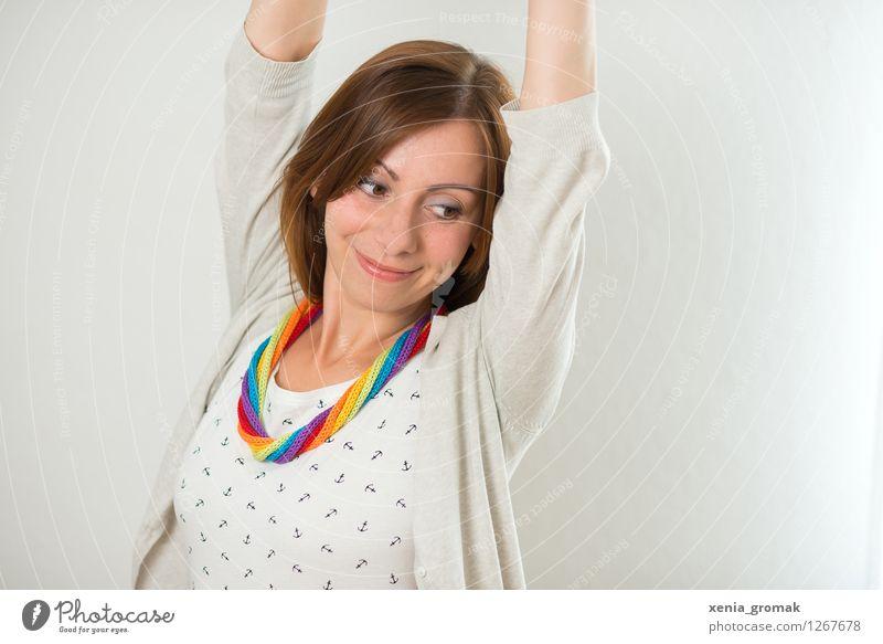Regenbogen Jugendliche schön Junge Frau weiß Erholung ruhig Freude Leben feminin Stil Gesundheit Spielen Lifestyle Design Zufriedenheit Freizeit & Hobby