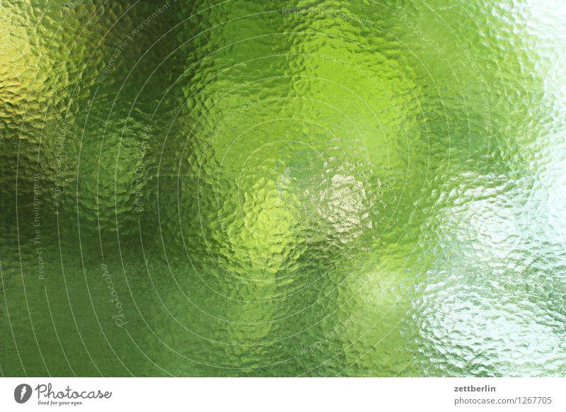Fenster Glas Riffelglas Milchglas Unschärfe Aussicht Fensterblick abstrakt Hintergrundbild Muster Aquarell Textfreiraum Sommer Licht Freundlichkeit Tag grün