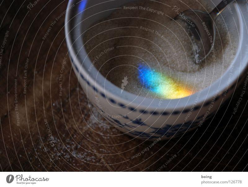 Schnitt ist Hit grün blau rot gelb Farbe Wassertropfen Hoffnung Sehnsucht Süßwaren Strahlung Symbole & Metaphern Schneidebrett Kristallstrukturen Regenbogen Zucker Linse