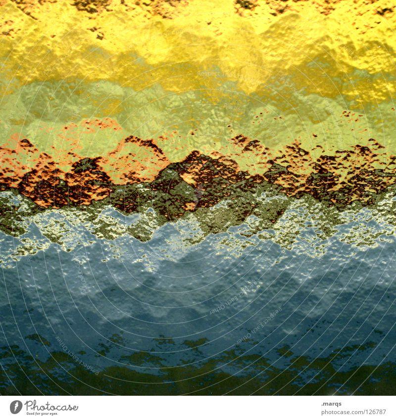 Distortion grün blau rot schwarz gelb Farbe orange Glas Hintergrundbild Horizont obskur gebrochen Fensterscheibe Oberfläche Verlauf Verzerrung