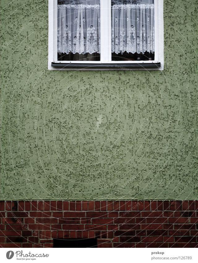 Nie ein Tatort Fassade Fenster Gardine Backstein Haus Langeweile Durchschnitt Häusliches Leben Spießer Ekel schlafen einschläfernd Neukölln Detailaufnahme