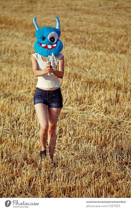 Ich geh mit meiner... Kunst Kunstwerk ästhetisch Monster Außerirdischer außerirdisch ungeheuerlich Ungeheuer Stroh Feld Maske blau Kostüm Karnevalskostüm