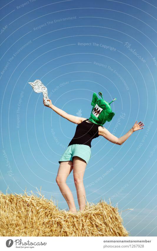 hit somebody Kunst Kunstwerk Abenteuer ästhetisch Außerirdischer außerirdisch Monster getroffen Freude spaßig Spaßvogel Spaßgesellschaft Maske feminin Farbfoto