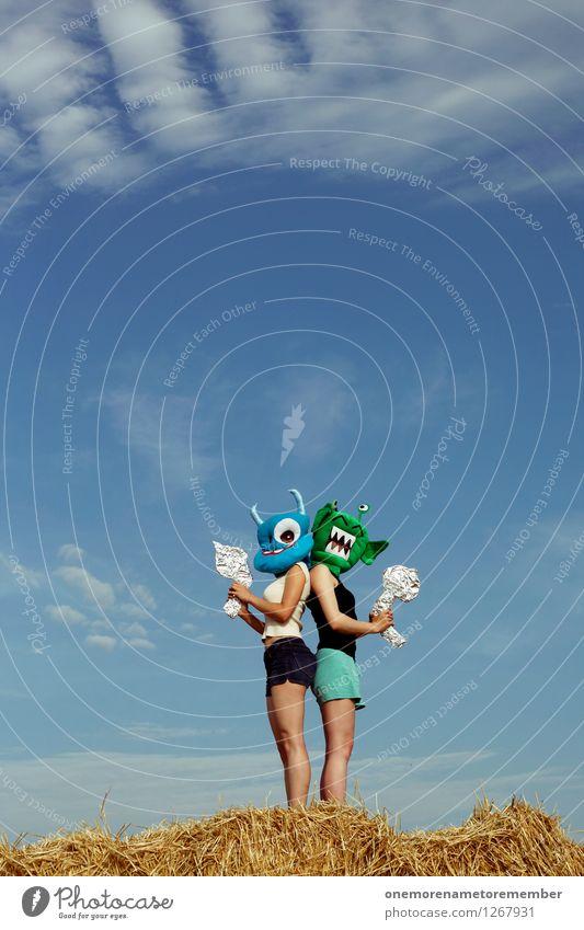 Duell Kunst Kunstwerk Abenteuer ästhetisch Zweikampf Konflikt & Streit Außerirdischer Monster Ungeheuer Maske blau grün Pistole Waffe Blauer Himmel Freude
