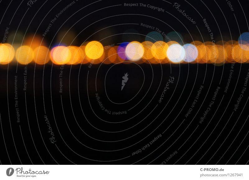 night lights line I Stadt schwarz gelb Hintergrundbild leuchten Skyline Disco Nachtleben Lichtspiel Lichtpunkt Lichterkette Nachtaufnahme Rostock Lichtermeer
