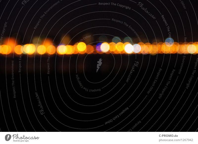night lights line III Nachtleben Stadt Skyline gelb schwarz Rostock Beleuchtung Lichtpunkt Lichtermeer Lichterkette Lichtspiel Disco Nachtaufnahme abstrakt