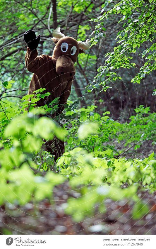 Hallo Mensch! Kunst Kunstwerk ästhetisch Elch Elchkuh Elchbulle Wald Waldlichtung Waldrand Waldpflanze grün Kostüm Karnevalskostüm Unsinn verkleiden Freude