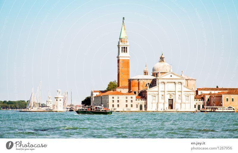 San Giorgio Maggiore Ferien & Urlaub & Reisen Tourismus Ausflug Sightseeing Städtereise Sommer Sommerurlaub Meer Insel Wolkenloser Himmel Adria Venedig Italien