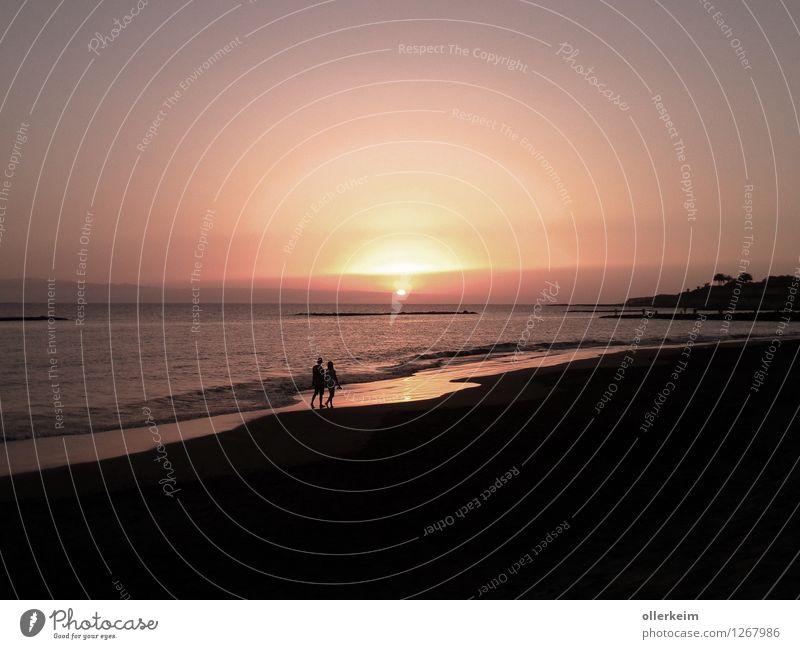 Sonnenuntergang auf Teneriffa Wellness Wohlgefühl Zufriedenheit ruhig Schwimmen & Baden Ferien & Urlaub & Reisen Sommer Strand Meer Mensch Frau Erwachsene Mann